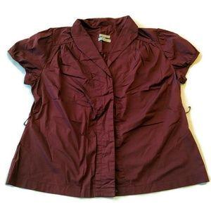 Old Navy Shirt Top Blouse 1x Maroon Burgundy work
